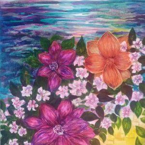 Картина «Цветы у моря»