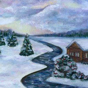Картина «Зимняя избушка»
