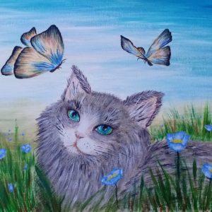 Картина «Кот и бабочки»